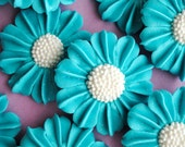 Royal Icing Modern Daisies in Light Blue Green with White Nonpareil Center (12)