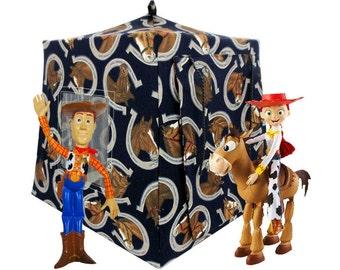 Toy Pop Up Tent, Sleeping Bags, dark navy blue, horse print fabric
