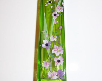 Green bud vase - pink and purple wisteria  - swarovski crystals