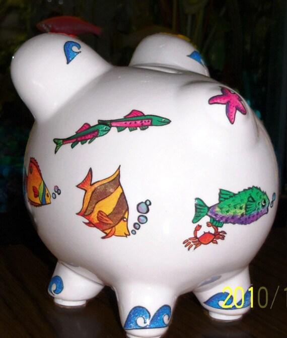 Colorful fish ceramic piggy bank