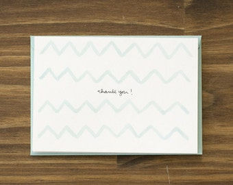 teal watercolor chevrons thank you card