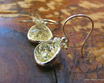 Cracked Ice Earrings in light lemon with Prehnite Buttons in Sterling Silver.