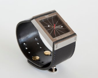 Black leather watch, square watch, modern accessory  - the Fulcrum