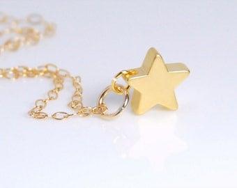 Mini Star necklace, 14K gold filld necklace, minimalist necklace