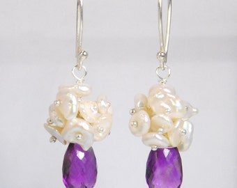 Amethyst earring, fresh water pearl earrings, sterling silver ear wires