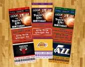 BASKETBALL Ticket Birthday Invitation -- Custom Digital File -- Printable or print for you