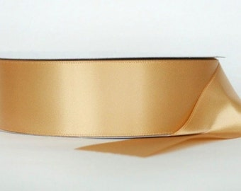 Champagne Ribbon double faced satin ribbon 1.5 inches, Wedding, Special Occasion, Crafts, DIY bridal 1 yard