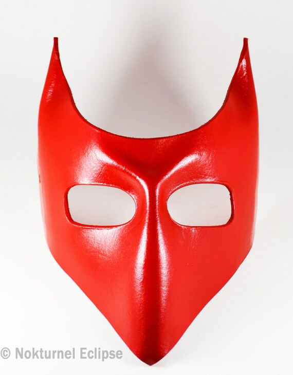 Red Devil Lock Mask with Little Horns Tim Burton Nightmare Before Christmas Lock Shock Barrel Masquerade Ball Party Cosplay Geek  UNISEX