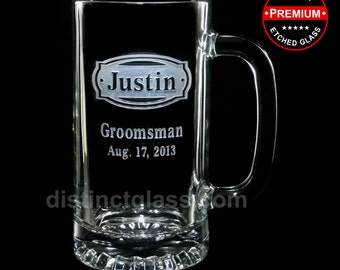 Beer Mugs for Groomsmen - Personalized BUCKLEHEAD WEDDING BEER Mugs - 16oz Etched Glass Beer Mug - Distinct Glass Studio - Ships to Canada