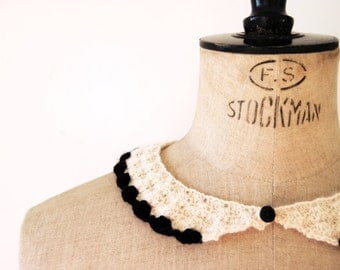 White and Black Peter Pan Collar, hand-crocheted, women, accessories, ready to ship