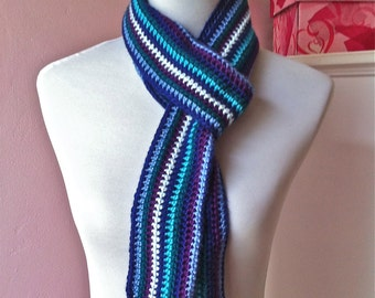 Shades of Blue Multi-Colored Crochet Scarf With Braided Tassels