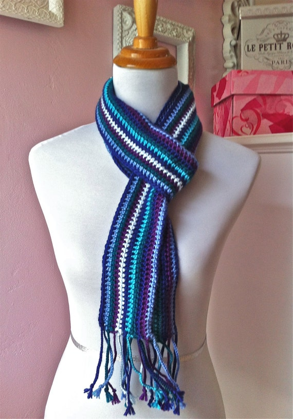 Shades of Blue Multi-Colored Crochet Scarf With Braided Tassels - READY TO SHIP