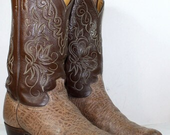 Vintage cowboy low heel mid calf pixie western Justin gray grown Leather fashion boots 11 D mens