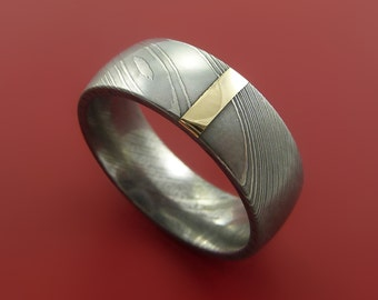Damascus Steel 14K Yellow Gold Vertical Inlay Ring Wedding Band Custom Made