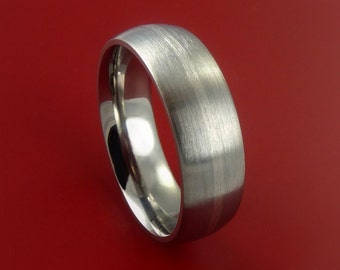 White Gold and Titanium Womens Ring Custom Made Band Any Finish and Sizing from 3-22