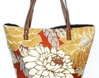 Large Floral Tote, Chrysanthemum Tote, Market Tote, Floral Tote Bag, Summer Tote