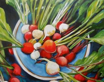 24x24 original painting - Radishes