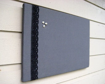 Grey Linen Pin, Bulletin Board, Modern and Classic decor with black embroidered lace for your Photos and Memos