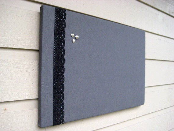 Grey linen pin bulletin board modern and classic decor with for Linen cork board