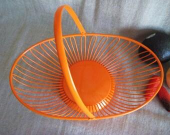 Summer Sale Upcycled Vintage Metal Basket in Orange Crush / Retro Chic Painted Metal Basket