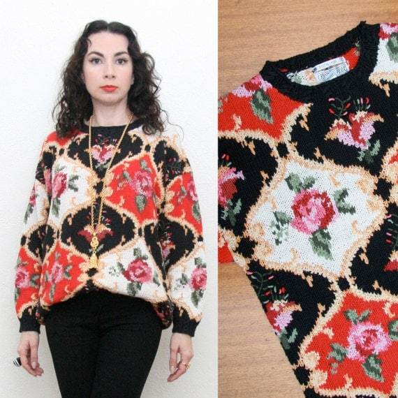 Vintage 80s 90s Baroque Style Sweater Large