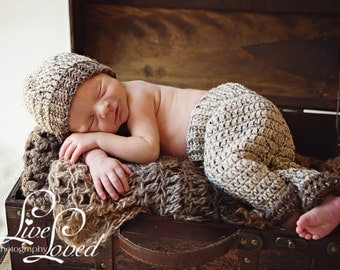 Download PDF crochet pattern s014 - Newborn ribbed beanie and pants