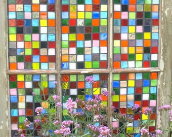"Stained Glass Mosaic Repurposed Window ""Pieces of my Heart"" Quilt Rainbow"