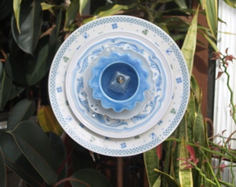 Blue & White Repurpose Glass Plate Flower vintage