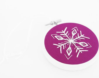 "50% Off: Plum, White and Silver Christmas Ornament. Handmade Snowflake Embroidery Hoop Ornament or Holiday Decoration For The Winter 3"" Hoop"