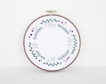 "Traditional Sampler Style Floral Embroidery Art Botanical Fiber Art. Embroidery Hoop Art in Green, Blue and Purple Leaf Design in 6"" Hoop"