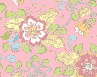 Riley Blake Priscilla Main Pink Fabric - 1 yard