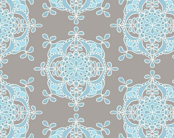 Riley Blake Priscilla Wallpaper Blue Fabric - 1 yard