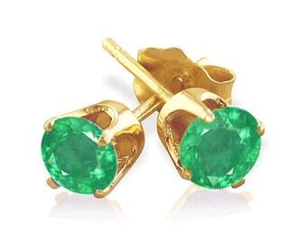 14k yellow gold earrings colombian emeralds
