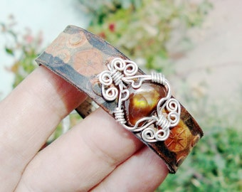 adjustable leather bracelet mexican fire agate sterling silver