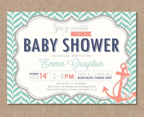 nautical baby shower invitation printable baby shower, Baby shower invitations