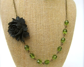 Black Flower Necklace Green Necklace Bridesmaid Jewelry Statement Necklace Floral Necklace Green Wedding Jewelry Green Jewelry