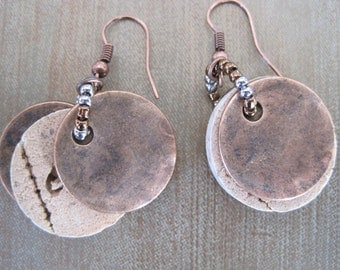 Wine Cork Earrings with Antique Copper Accents - Recycled Wine Cork