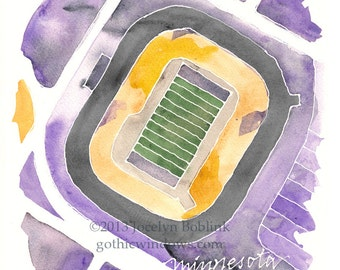 Football Stadium Watercolor Map of Your Favorite Field in Sports Team Colors
