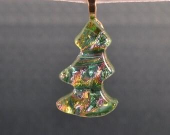 Fused Dichroic Glass Christmas Tree Necklace Pendant-SRA-Handmade