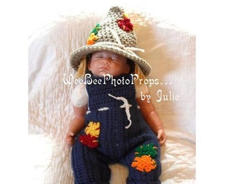 newborn halloween scarecrow costume photography prop baby hat and overalls