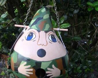 Army Military Man Birdhouse Gourd