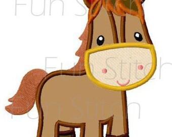Farm horse applique machine embroidery design instant download