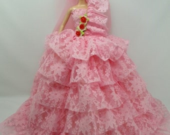 Barbie Doll Wedding Layer Gown Dress with veil Royalty Wedding3