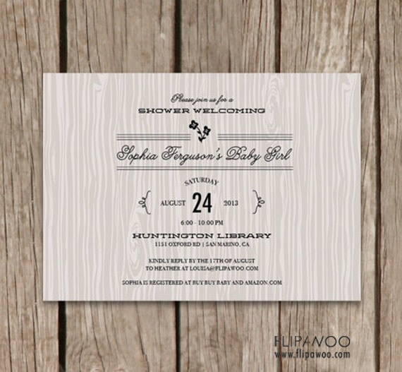 Baby Shower or Birthday Rustic Invitation Design by FLIPAWOO  - Customized Printable File