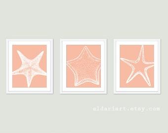 Vintage Starfish Art Prints Trio - Peach - Nautical Home Decor - Beach House Decor