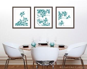 Autumn Tree Art Prints Set of 3 - 11x14 - Teal Blue Wall Art -  Modern Nature Art - Maple Tree - Fall Decor
