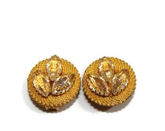 Vintage Gold Rhinestone Clip On Earrings