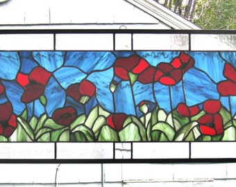 """Red Oriental Poppies 11"""" x 35""""--Stained Glass Transom Panel--"""