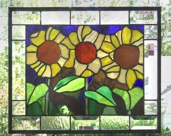 "Three Sunflowers, 13.5"" x  15.5"", Stained Glass Window Panel"