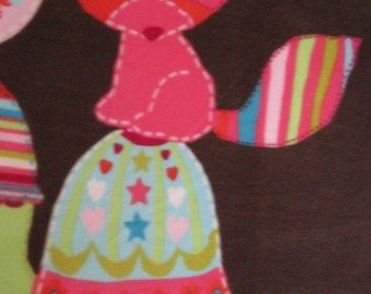Eco-Friends on Brown with Pink Fleece Blanket - Ready to Ship Now